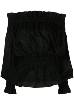 Adam Lippes off-shoulder ruffle-trimmed cotton top - Black