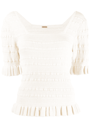 Adam Lippes ribbed ruffle-trimmed cotton top - White