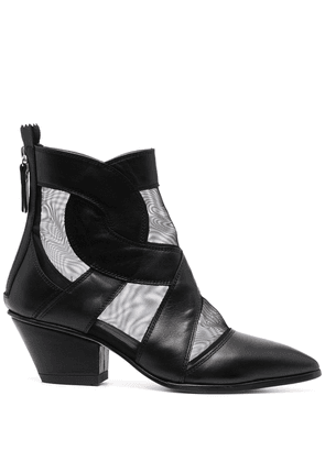 AGL pointed leather boots - Black