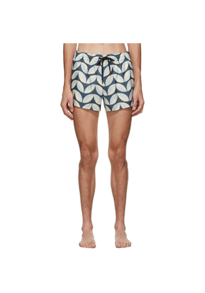 COMMAS Blue and Beige Pavilion Tile Short Length Swim Shorts