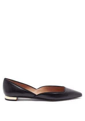 Aquazzura - Maia Leather D'orsay Flats - Womens - Black