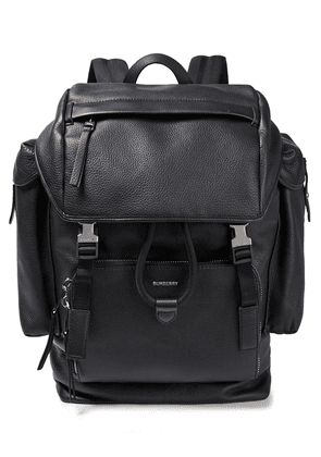 Burberry Pebbled-leather And Mesh Backpack Woman Black Size --
