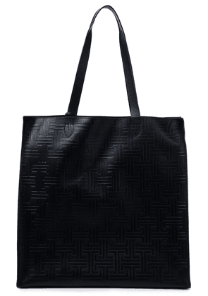 Lanvin Embroidered Embossed Leather Tote Woman Black Size --