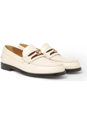 GUCCI - Kaveh Webbing-Trimmed Leather Loafers - Men - White