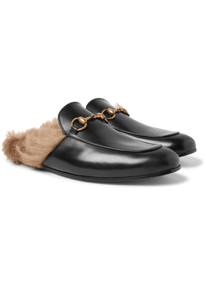 GUCCI - Princetown Horsebit Shearling-Lined Leather Backless Loafers - Men - Black