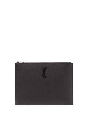 Saint Laurent - Ysl-plaque Pebbled-leather Pouch - Mens - Black