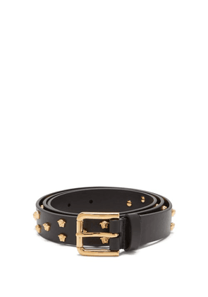 Versace - Medusa-studded Leather Belt - Mens - Black