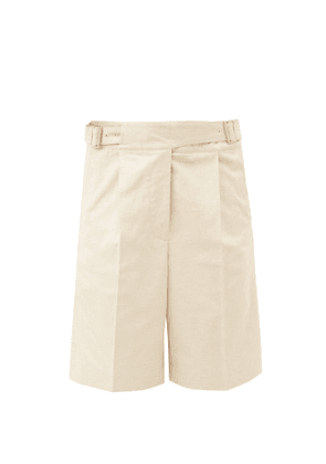 Acne Studios - Riley Pleated Cotton-blend Canvas Shorts - Womens - Cream