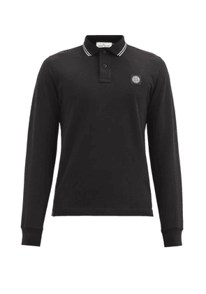Stone Island - Logo-patch Cotton-blend Long-sleeve Polo Shirt - Mens - Black