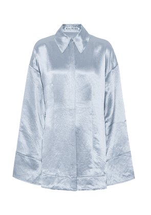 Oversized satin pajama shirt
