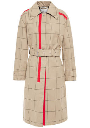 3.1 Phillip Lim Belted Printed Checked Cotton-blend Gabardine Trench Coat Woman Sand Size XS/S