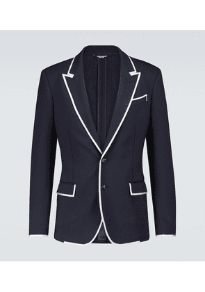 Stretch jersey blazer with piping