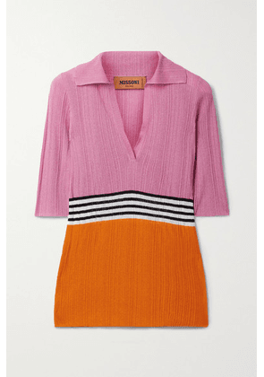 Missoni - Striped Ribbed Crochet-knit Top - Pink