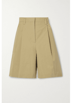 LOW CLASSIC - Pleated Cotton-blend Twill Shorts - Beige
