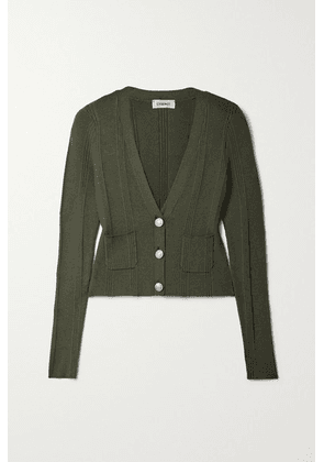 L'Agence - Jamie Ribbed-knit Cardigan - Army green