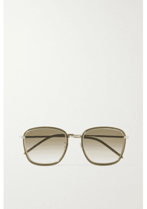 SAINT LAURENT - Square-frame Acetate And Silver-tone Sunglasses - Green