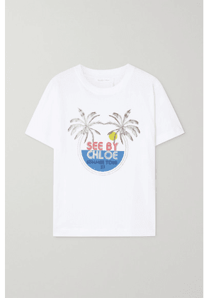 See By Chloé - Printed Cotton-jersey T-shirt - White