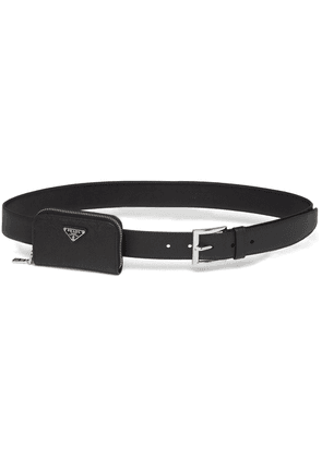 Prada pouch detail saffiano belt - Black