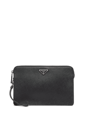 Prada logo plaque saffiano clutch - Black