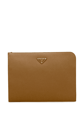 Prada logo plaque document case - Brown