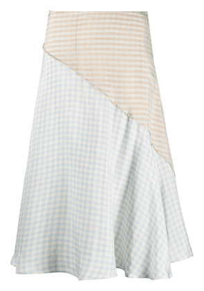 Acne Studios checked panelled high-waisted skirt - Neutrals