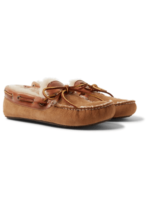 QUODDY - Fireside Leather-Trimmed Shearling-Lined Suede Slippers - Men - Brown - 7