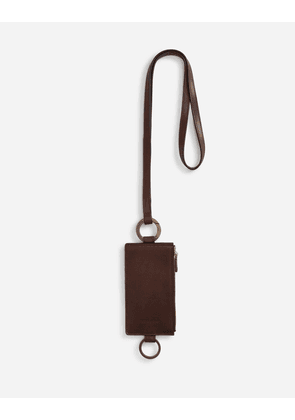 Dolce & Gabbana Collection - Cowhide card holder with crossbody strap and heat-stamped logo BROWN male OneSize