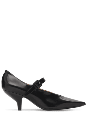 60mm Brushed Leather Pumps