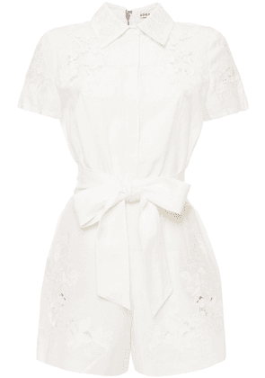 Alice + Olivia Lace-paneled Belted Twill Playsuit Woman White Size 2