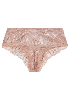 Cosabella Natalia Metallic Stretch-leavers Lace Low-rise Briefs Woman Rose Gold Size S
