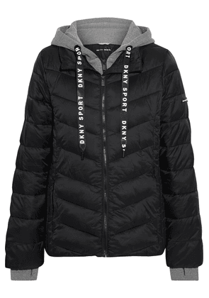 Dkny Layered Quilted Shell And Mélange Jersey Hooded Jacket Woman Black Size XS