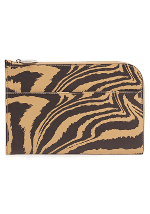 Ganni Printed Textured-leather Pouch Woman Sand Size --