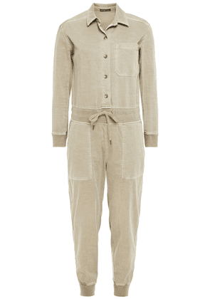 James Perse Cotton-blend Twill Jumpsuit Woman Grey green Size 1