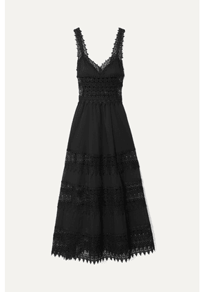 Charo Ruiz - Sophia Crocheted Lace-paneled Cotton-blend Voile Maxi Dress - Black