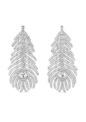 Boucheron 18kt white gold diamond Plume de Paon drop earrings - Silver