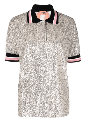 Nº21 sequin-embellished polo shirt - Silver
