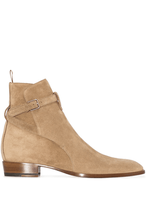 Saint Laurent Wyatt 30mm suede ankle boots - Brown