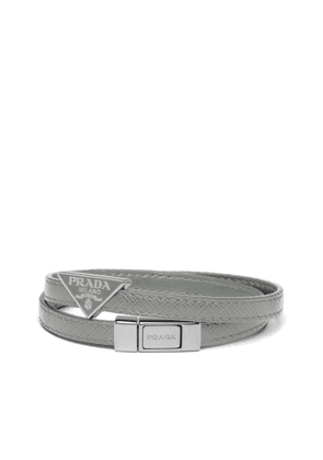 Prada double strap triangular logo bracelet - Grey