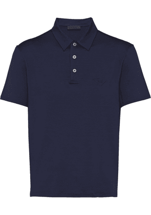 Prada embroidered-logo polo shirt - Blue