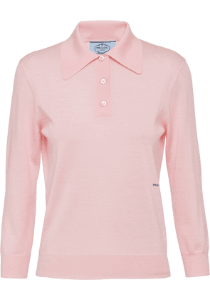 Prada long-sleeve wool polo shirt - Pink