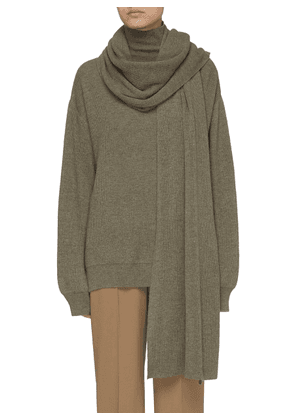 Rib Knit Mock Neck Sweater and Scarf Set