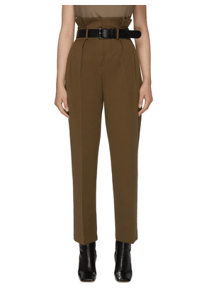 Belted Straight Leg Suiting Pants