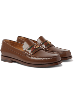 GUCCI - Kaveh Webbing-Trimmed Leather Loafers - Men - Brown