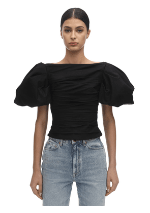 Kai Cotton Twill Top W/ Puff Sleeves