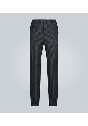 Wide-leg pinstripe wool pants