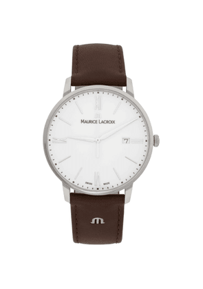 Maurice Lacroix Silver and Brown Eliros Date Watch