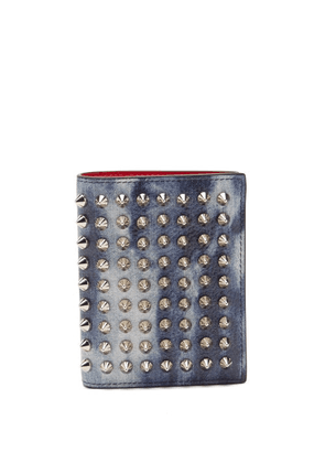 Christian Louboutin - Spiked Denim-effect Leather Wallet - Mens - Silver Multi