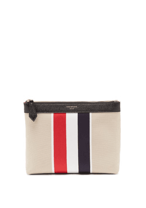 Thom Browne - Tricolour-stripe Cotton-canvas Wash Bag - Mens - Beige