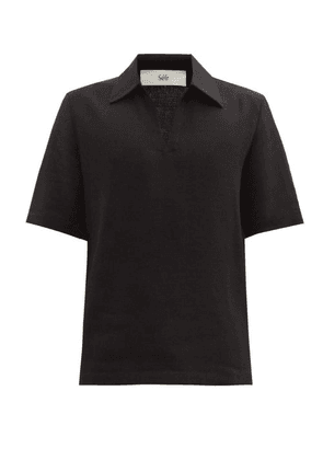 Séfr - Mate Crepe Polo Shirt - Mens - Black