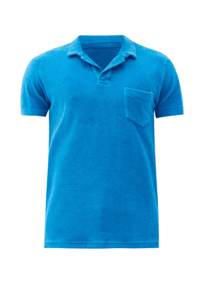 Orlebar Brown - Terry-towelling Cotton Polo Shirt - Mens - Blue